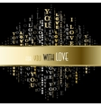 I love you words black gold background vector image vector image