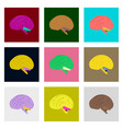 icons set in flat style human brain vector image vector image