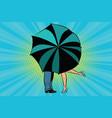 man and woman kissing behind umbrella vector image