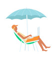 man with laptop sitting in lounge chair under vector image