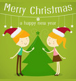 merry christmas greeting card with a cute little vector image vector image