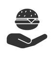 open hand with hamburger glyph icon