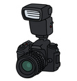 Photographic camera with a flashlight vector image