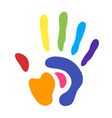 rainbow hand print vector image vector image