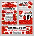 remembrance day poppy flower memorial banner vector image vector image