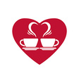 Romantic dating icon with two coffee cups and vector image