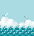 Sea background with waves clouds and seagulls