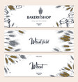 set bakery backgrounds with wheats linear vector image vector image