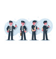 set cartoon businessmen character design vector image