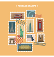 set travel postage stamps new york london paris vector image