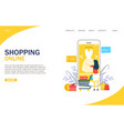 shopping online website landing page design vector image vector image