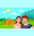 tourist couple hiking activity camping concept vector image