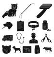 veterinary clinic black icons in set collection vector image vector image