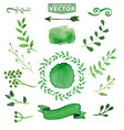 watercolor green decorbranchesfloral set vector image vector image