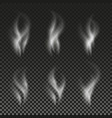 white cigarette smoke waves on transparent vector image