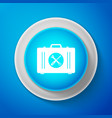 white toolbox icon isolated on blue background vector image