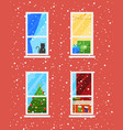 windows in winter time christmas and new year vector image