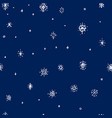 winter hand drawn snowflakes seamless pattern vector image vector image