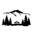 wolves mountains forest vector image vector image