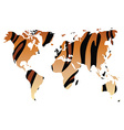World map in animal print design tiger pattern vector image