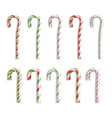 xmas candy cane set isolated on white top vector image vector image