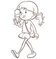 Girl and icecream vector image