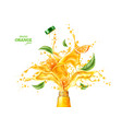 3d orange juice splash flowing liquid vector image