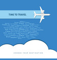 airplane with time to travel vector image
