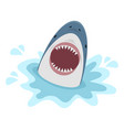 big shark with open mouth on a white background vector image vector image