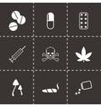 black drugs icon set vector image