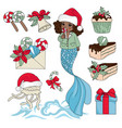 black mermaid new year set vector image