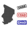 chad map in halftone dot style with grunge title vector image vector image