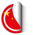 china flag in sticker design vector image vector image