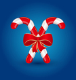Christmas candy canes with red bow isolated vector image