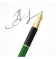 Close up of a fountain pens and signature vector image vector image