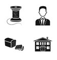 coil with threads man and other web icon in black vector image vector image