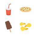 cola pizza ice cream chipsfast food set vector image vector image