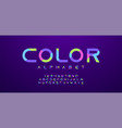 colorful letters and numbers font set minimal vector image vector image
