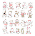 cute baby animal cartoon hand drawn style vector image vector image