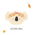 cute koala in autumn wreath on white background vector image