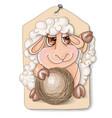 cutelittle sheep witha ball vector image vector image