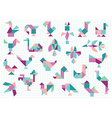different birds on white background vector image vector image