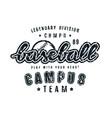 emblem of campus baseball team vector image vector image
