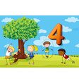 Flashcard number 4 with four children in the park vector image vector image