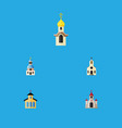 flat icon christian set of traditional church vector image vector image