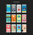 Flat Ui or UX mobile apps kit vector image