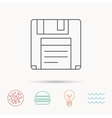 Floppy disk icon Retro data storage sign vector image
