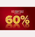 golden holiday sale 60 percent off vector image