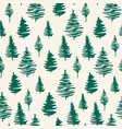 green christmas trees seamless patterns green vector image