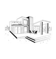 hand drawn villa modern private residential house vector image vector image